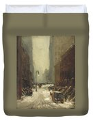 Snow In New York Duvet Cover