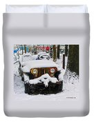 Snow Jeep Duvet Cover