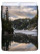 Snow Lake Last Fog Duvet Cover
