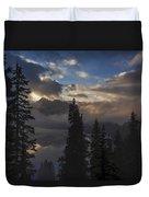 Snow Lake Sunset Duvet Cover