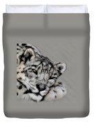 Snow Leopard Digital Art Duvet Cover