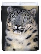 Snow Leopard Portrait Endangered Species Wildlife Rescue Duvet Cover