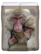 Snow Monkey And Young Duvet Cover