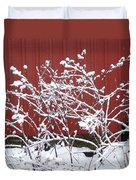 Snow On Burdock Burr Weed Against Red Barn Siding Duvet Cover
