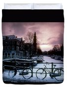 Snow On Canals. Amsterdam, Holland Duvet Cover