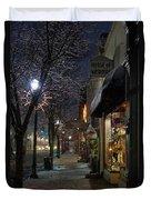 Snow On G Street 3 - Old Town Grants Pass Duvet Cover