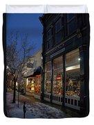 Snow On G Street - Old Town Grants Pass Duvet Cover