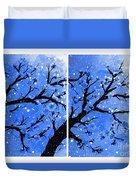 Snow On The Blue Cherry Blossom Tree Duvet Cover