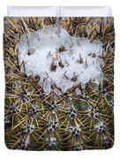 Snow On Top Of Small Saguaro Cactus Duvet Cover