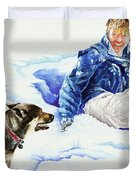 Snow Play Sadie And Andrew Duvet Cover by Carolyn Coffey Wallace