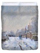 Snow Scene At Argenteuil Duvet Cover
