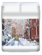 Snow West Village New York City Duvet Cover