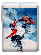 Snowboard Psyched Duvet Cover by Hanne Lore Koehler