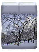 Snowboarders In Central Park Duvet Cover