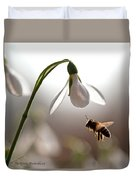 Snowdrops And The Bee Duvet Cover