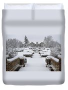 Snowfall At Longview Mansion Duvet Cover