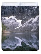 Snowfield Reflection On Blue Lake  Duvet Cover