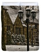 Snowing At Stokesay Castle Duvet Cover