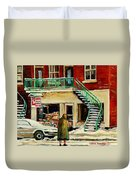 Snowing At The Five And Dime Duvet Cover