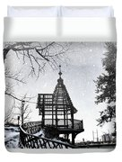 Snowing At The Gazebo Duvet Cover
