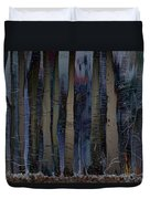Snowing In The Ice Forest At Night Duvet Cover