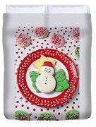 Snowman Cookie Plate Duvet Cover