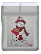 Snowman Playing Basketball Duvet Cover