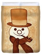 Snowman With Pipe And Topper Original Coffee Painting Duvet Cover