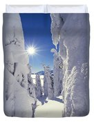 Snowscape Snow Covered Trees And Bright Sun Duvet Cover