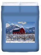 Snowy Barn In The Mountains - Utah Duvet Cover