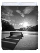 Snowy Bench Bw Duvet Cover