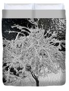 Snowy Branches In Darkness Duvet Cover