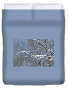 Snowy Branches With Blue Sky Duvet Cover