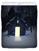 Snowy Chapel At Night Duvet Cover