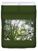 Snowy Daffodils Duvet Cover