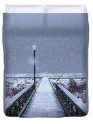 Snowy Day On The Boardwalk Duvet Cover