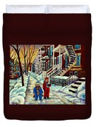 Snowy Day Rue Fabre Le Plateau Montreal Art Winter City Scenes Paintings Carole Spandau Duvet Cover