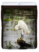Snowy Egret In Swamp Duvet Cover