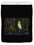 Snowy Egret In The Reeds Duvet Cover