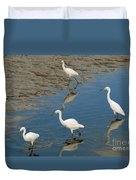 Snowy Egret Lunch Break Duvet Cover