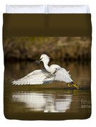 Snowy Egret With Lunch Duvet Cover