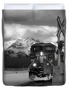 Snowy Engine Through The Rockies Duvet Cover