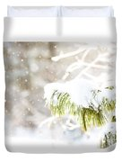 Snowy Evergreen Duvet Cover