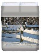 Snowy Fence Duvet Cover