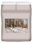 Snowy Forest Road In Sunlight Duvet Cover