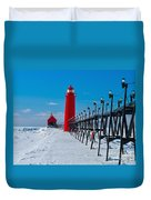 Snowy Grand Haven Pier Duvet Cover