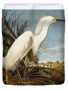 Snowy Heron Or White Egret Duvet Cover