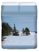 Snowy Hillside With Evergreen Trees And Bluesky Duvet Cover