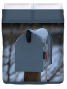Snowy Kansas Mailbox Duvet Cover by Robert D  Brozek