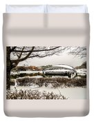 Snowy Landscape At Symphony Park Charlotte North Carolina Duvet Cover
